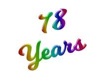 78 лет годовщины, праздника каллиграфического 3D представили иллюстрацию текста покрашенный с градиентом радуги RGB Стоковое Изображение RF