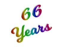 66 лет годовщины, праздника каллиграфического 3D представили иллюстрацию текста покрашенный с градиентом радуги RGB Стоковые Изображения RF