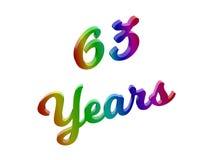 63 лет годовщины, праздника каллиграфического 3D представили иллюстрацию текста покрашенный с градиентом радуги RGB Стоковое Изображение RF