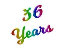 36 лет годовщины, праздника каллиграфического 3D представили иллюстрацию текста покрашенный с градиентом радуги RGB Стоковое фото RF