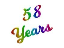 58 лет годовщины, праздника каллиграфического 3D представили иллюстрацию текста покрашенный с градиентом радуги RGB Стоковое Изображение RF