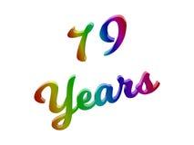79 лет годовщины, праздника каллиграфического 3D представили иллюстрацию текста покрашенный с градиентом радуги RGB Стоковая Фотография RF