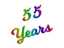 55 лет годовщины, праздника каллиграфического 3D представили иллюстрацию текста покрашенный с градиентом радуги RGB Стоковая Фотография RF