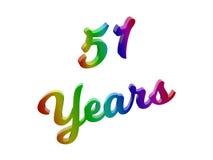 51 лет годовщины, праздника каллиграфического 3D представили иллюстрацию текста покрашенный с градиентом радуги RGB Стоковые Изображения RF