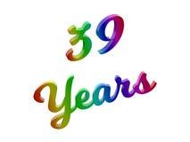 39 лет годовщины, праздника каллиграфического 3D представили иллюстрацию текста покрашенный с градиентом радуги RGB Стоковое фото RF
