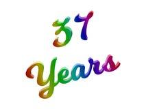 37 лет годовщины, праздника каллиграфического 3D представили иллюстрацию текста покрашенный с градиентом радуги RGB Стоковые Фотографии RF