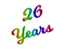 26 лет годовщины, праздника каллиграфического 3D представили иллюстрацию текста покрашенный с градиентом радуги RGB Стоковое Изображение RF