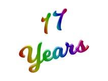17 лет годовщины, праздника каллиграфического 3D представили иллюстрацию текста покрашенный с градиентом радуги RGB Стоковое фото RF
