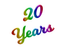20 лет годовщины, праздника каллиграфического 3D представили иллюстрацию текста покрашенный с градиентом радуги RGB Стоковая Фотография RF