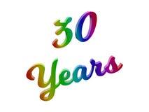 30 лет годовщины, праздника каллиграфического 3D представили иллюстрацию текста покрашенный с градиентом радуги RGB Стоковая Фотография RF