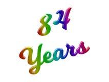 84 лет годовщины, праздника каллиграфического 3D представили иллюстрацию текста покрашенный с градиентом радуги RGB Стоковые Фотографии RF