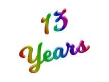 13 лет годовщины, праздника каллиграфического 3D представили иллюстрацию текста покрашенный с градиентом радуги RGB Стоковое фото RF