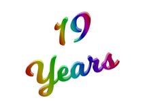 19 лет годовщины, праздника каллиграфического 3D представили иллюстрацию текста покрашенный с градиентом радуги RGB Стоковые Изображения