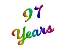 97 лет годовщины, праздника каллиграфического 3D представили иллюстрацию текста покрашенный с градиентом радуги RGB Стоковые Изображения