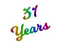 31 лет годовщины, праздника каллиграфического 3D представили иллюстрацию текста покрашенный с градиентом радуги RGB Стоковое Изображение RF