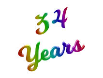 34 лет годовщины, праздника каллиграфического 3D представили иллюстрацию текста покрашенный с градиентом радуги RGB Стоковая Фотография RF