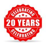 20 лет годовщины празднуя значок иллюстрация штока