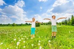 2 дет делая гимнастику Стоковое Изображение RF