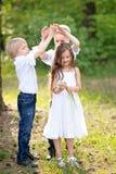 3 дет играя на луге Стоковая Фотография RF