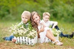 3 дет играя на луге Стоковые Изображения