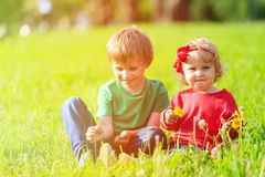 2 дет играя с одуванчиками на зеленой траве Стоковое Изображение