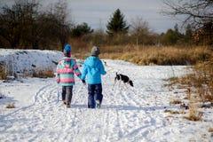 2 дет идут на парк зимы соединяя руки Стоковая Фотография