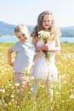 2 дет мальчик и девушка на поле стоцвета Стоковая Фотография RF