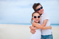 2 дет на пляже Стоковая Фотография