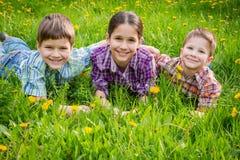3 дет на луге зеленой травы Стоковая Фотография RF