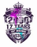 17 лет охлаждают футболку дизайна Стоковая Фотография RF