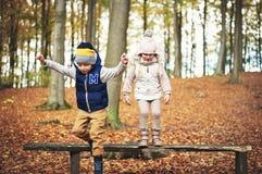 2 дет скача от стенда в лесе Стоковые Фотографии RF