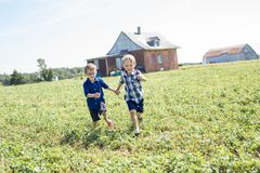 2 дет совместно в поле Стоковое фото RF