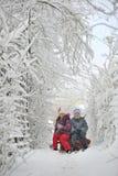2 дет сползая с sledding Стоковые Фото