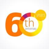 60 лет старого круглого логотипа Стоковые Изображения