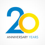 20 лет старого празднуя классического логотипа иллюстрация штока