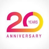 20 лет старого празднуя классического логотипа иллюстрация вектора
