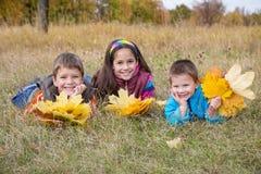 3 дет с листьями осени Стоковая Фотография RF