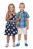 2 дет с мороженым Стоковые Фотографии RF