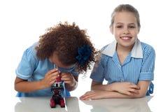 2 дет школы проводя исследование исследование Стоковая Фотография