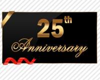 25 лет ярлыка декоративной годовщины золотого с лентой - vector иллюстрация Стоковые Изображения RF