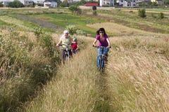 Ехать семьи велосипеды в луге Стоковые Изображения RF