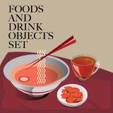 Еда & лапша питья установленная Стоковое фото RF