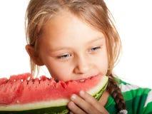 еда арбуза девушки Стоковые Фотографии RF