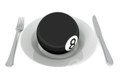 Еда биллиардов: шарик биллиарда с столовым прибором, иллюстрацией 3d Стоковые Изображения