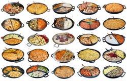 Еда быстрой улицы домодельная в большими комплекте изолированном сковородами Стоковое Изображение