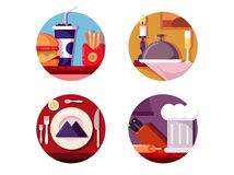 Еда в кафе или ресторане иллюстрация штока