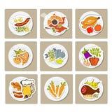 Еда в плоском стиле иллюстрации Стоковое Изображение RF