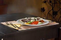 Еда в ресторане Стоковое фото RF