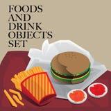 Еда & гамбургер питья установленный Стоковое Изображение