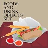 Еда & горячая сосиска питья установленная Стоковая Фотография RF